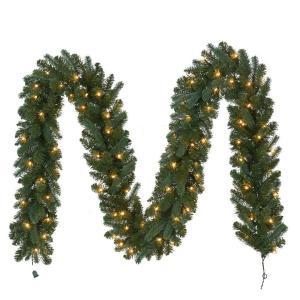 12 ft. Pre-Lit Fairwood Garland x 340 Tips with 100 UL Indoor/Outdoor Clear Lights