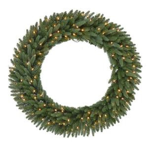 48 in. Pre-Lit B/O LED New Meadow Artificial Christmas Wreath x 520 Tips with 120 Warm White LED Lights and Timer