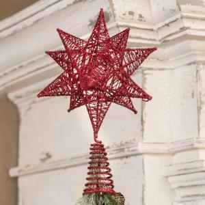 7 in. x 9 in. Glitter Red Star Tree Topper