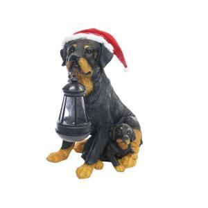 12 in. Solar Christmas Dog Family with Motion Censored Bark