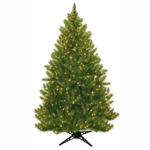 6.5 ft. Pre-Lit Carolina Fir Artificial Christmas Tree with Clear Lights