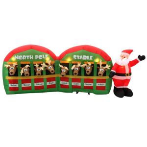 11 ft. Inflatable Santa with Reindeer in Stable
