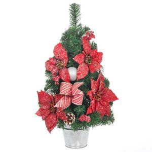 24 in. H Icy Red Poinsettia Pine Tree with Metal Base