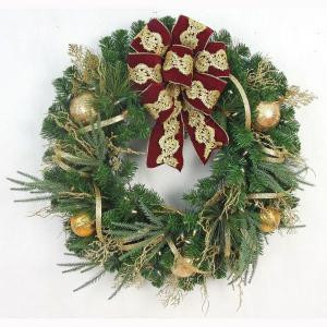 32 in. Pre-Lit Valenzia Artificial Christmas Wreath With Red and Gold Ribbon, 50 Battery-Operated Warm White LED