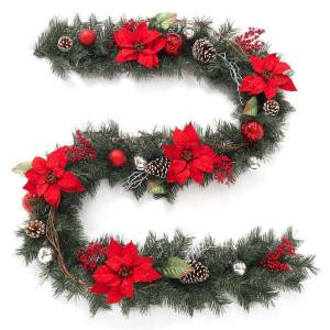 9 ft. Twig Pine Red Poinsettia Garland with Pinecones, Berries and Ball Ornaments