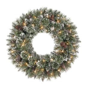 30 in. Frosted Pine Artificial Wreath with 50 Clear Lights
