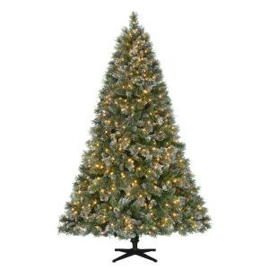 7.5 ft. Pre-Lit LED Sparkling Pine Quick-Set Artificial Christmas Tree with Warm White Lights and Pinecones