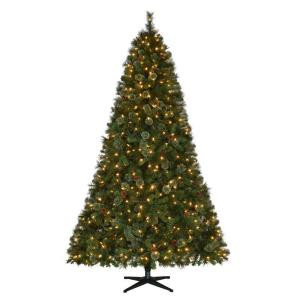 9 ft. Pre-Lit LED Alexander Pine Quick-Set Artificial Christmas Tree with Pinecones and Warm White Lights