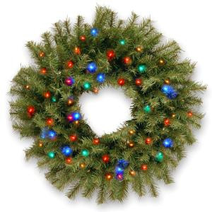 24 in. Norwood Fir Artificial Wreath with Multicolor LED Lights