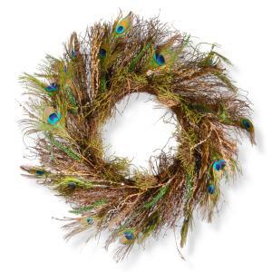 28 in. Peacock Artificial Wreath