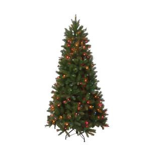 6.5 ft. Pre-Lit FEEL-REAL Bavarian Pine Hinged Artificial Christmas Tree with 400 Multi-Color Lights