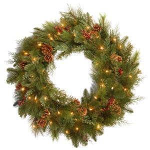 Decorative Collection Noble Mixed 30 in. Artificial Wreath with Battery Operated Warm White LED Lights