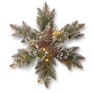 Glittery Bristle Pine 18 in. Artificial Snowflake with Battery Operated Warm White LED Lights