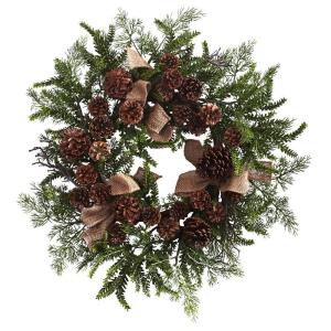 24 in. Pine and Pine Cone Artificial Wreath with Burlap Bows
