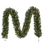 12 ft. Pre-Lit Fairwood Garland x 340 Tips with 100 UL Indoor/Outdoor Clear Lights