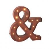 """12 in. H Rustic Brown Metal """"&"""" Symbol"""