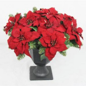 22 in. Battery Operated Artificial Poinsettia Topiary with 35 Clear LED Lights