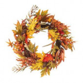 24 in. Fall Leaf and Berry Artificial Wreath