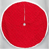 56 in. Red Pintucked Velvet Christmas Tree Skirt