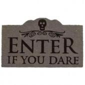 Enter if You Dare 17 in. x 28 in. Non-Slip Coir Door Mat