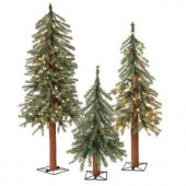 2 ft., 3 ft., and 4 ft. Pre Lit Alpine Artificial Christmas Trees with Metal Base (Set of 3)