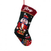 19 in. Polyester/Acrylic Hooked Christmas Stocking with Nutcracker
