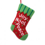 19.5 in. Polyester/Acrylic Hooked Christmas Stocking with Joy Noel Peace