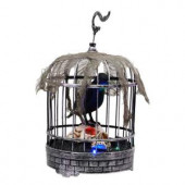 10 in. Animated Talking Raven in Cage with Skull