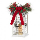 18 in. H White Wooden Holiday Lantern with LED Resin Timer Candle
