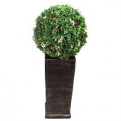 3.16 ft. Pre-Lit LED Boxwood Artificial Christmas Tree Topiary with 35 Battery-Operated Warm-White