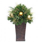 36 in. Valenzia Artificial Topiary with Resin Pot and 50 Battery-Operated LED Lights
