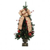 4 ft. Battery Operated Holiday Burlap Potted Artificial Christmas Tree with 50 Clear LED Lights