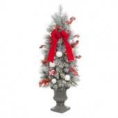4 ft. Pre-Lit Flocked Porch Tree with 50 Clear Battery Operated LED Lights and Timer Function