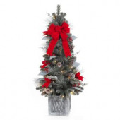 4 ft. Pre-Lit Snowy Pine Porch Artificial Tree with 50 Clear Battery Operated LED Lights and Timer Function