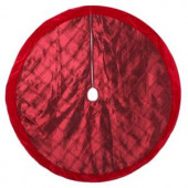 56 in. Burgundy Pintucked Satin Christmas Tree Skirt