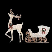 60 in. LED Lighted Standing Deer with 44 in. LED Lighted Acrylic Sleigh