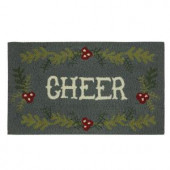 Cheer 17 in. x 29 in. Hand Hooked Holiday Mat
