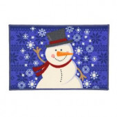 Snowman Blue Sweater 17 in. x 29 in. Printed Holiday Mat