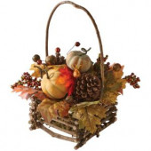 Green Harvest 16 in. Autumn Basket with Pumpkin, Gourd and Maple Leaf
