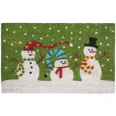 Christmas Three Snowmen Vinyl Back Coco 18 in. x 30 in. Door Mat