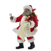 10.5 in. Fabriche Black Santa with List and Candy Cane