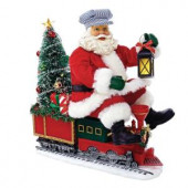 9.5 in. Fabriche Battery-Operated Santa on Train with LED Tree
