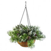 20 in. Glittery Bristle Pine Hanging Basket