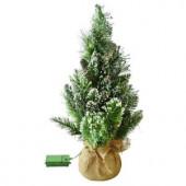 24 in. Pre-lit LED Glittery Bristle Pine Artificial Table Tree