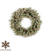 36 in. Pre-Lit Snowy Fir Artificial Christmas Wreath with Pinecones and Clear Lights
