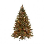 7.5 ft. Pre-lit Snowy Pine Artificial Christmas Tree with Snowy Pine and Multi-Color Lights