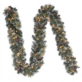9 ft. Frosted Pine Artificial Garland with 50 Clear Lights