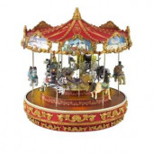 13 in. Dia Animated Musical Vintage Carousel