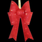 20 in. Pre-Lit Red Fabric Bow with Battery Operated LED Lights