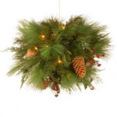 20 in. White Pine Kissing Ball with Battery Operated Warm White LED Lights
